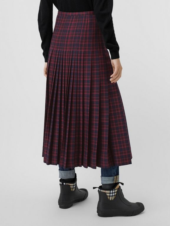 Tartan Wool Long Kilt in Navy - Women | Burberry - cell image 1