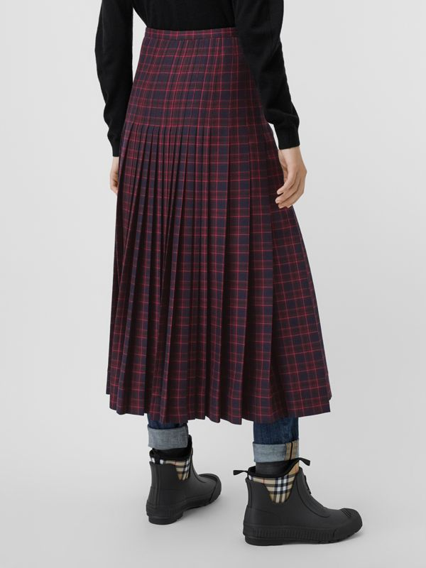 Tartan Wool Long Kilt in Navy - Women | Burberry United Kingdom - cell image 2