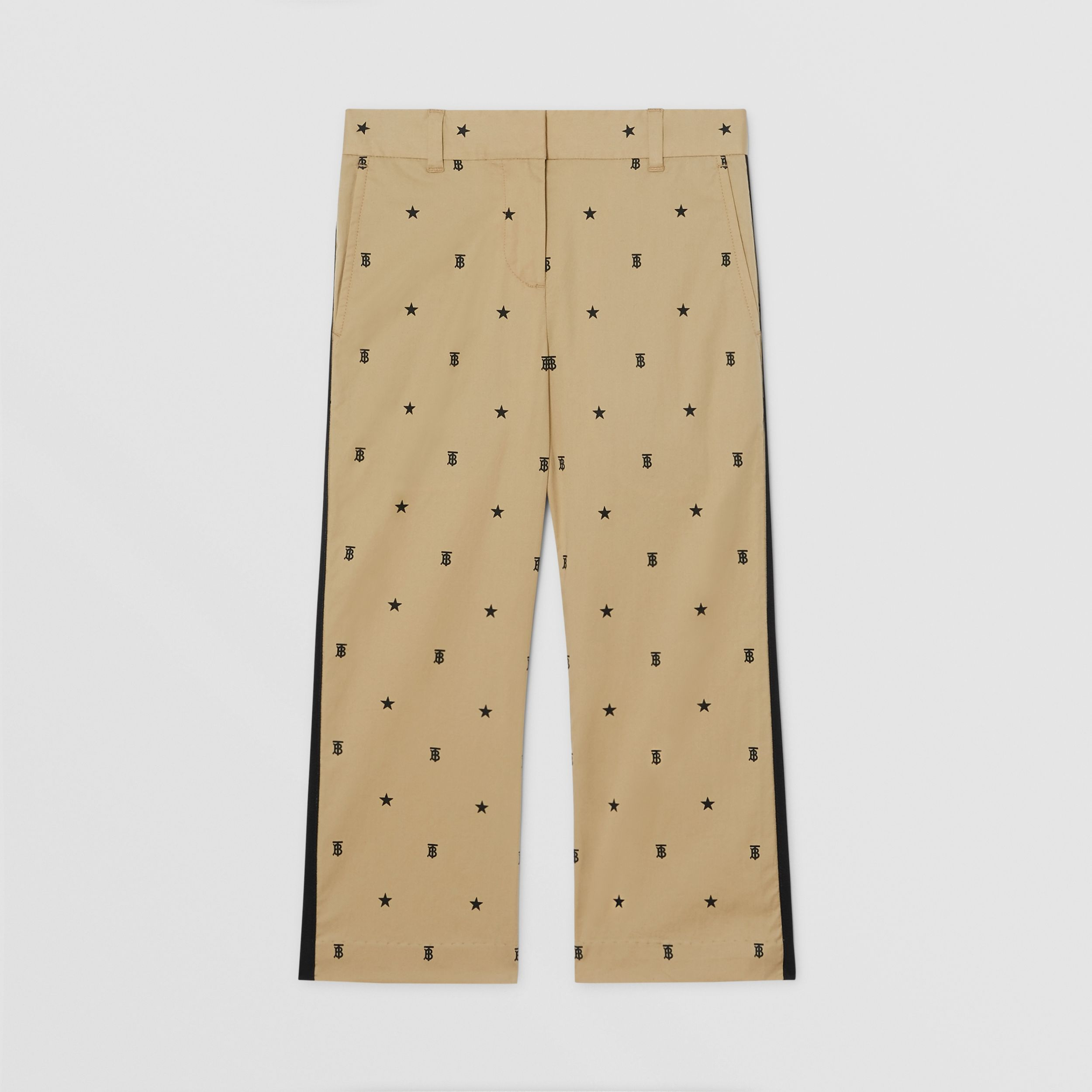 Star and Monogram Motif Stretch Cotton Trousers in Sand | Burberry - 1