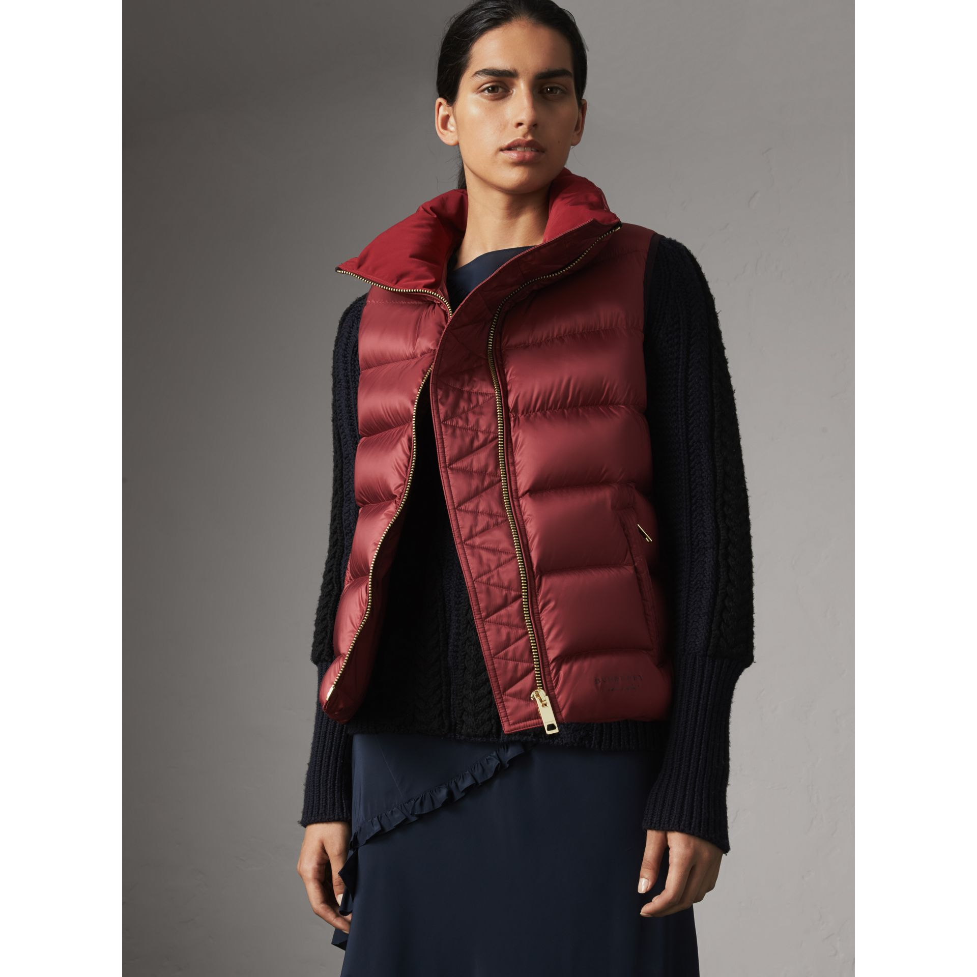 Down-filled Gilet in Military Red - Women | Burberry - gallery image 1