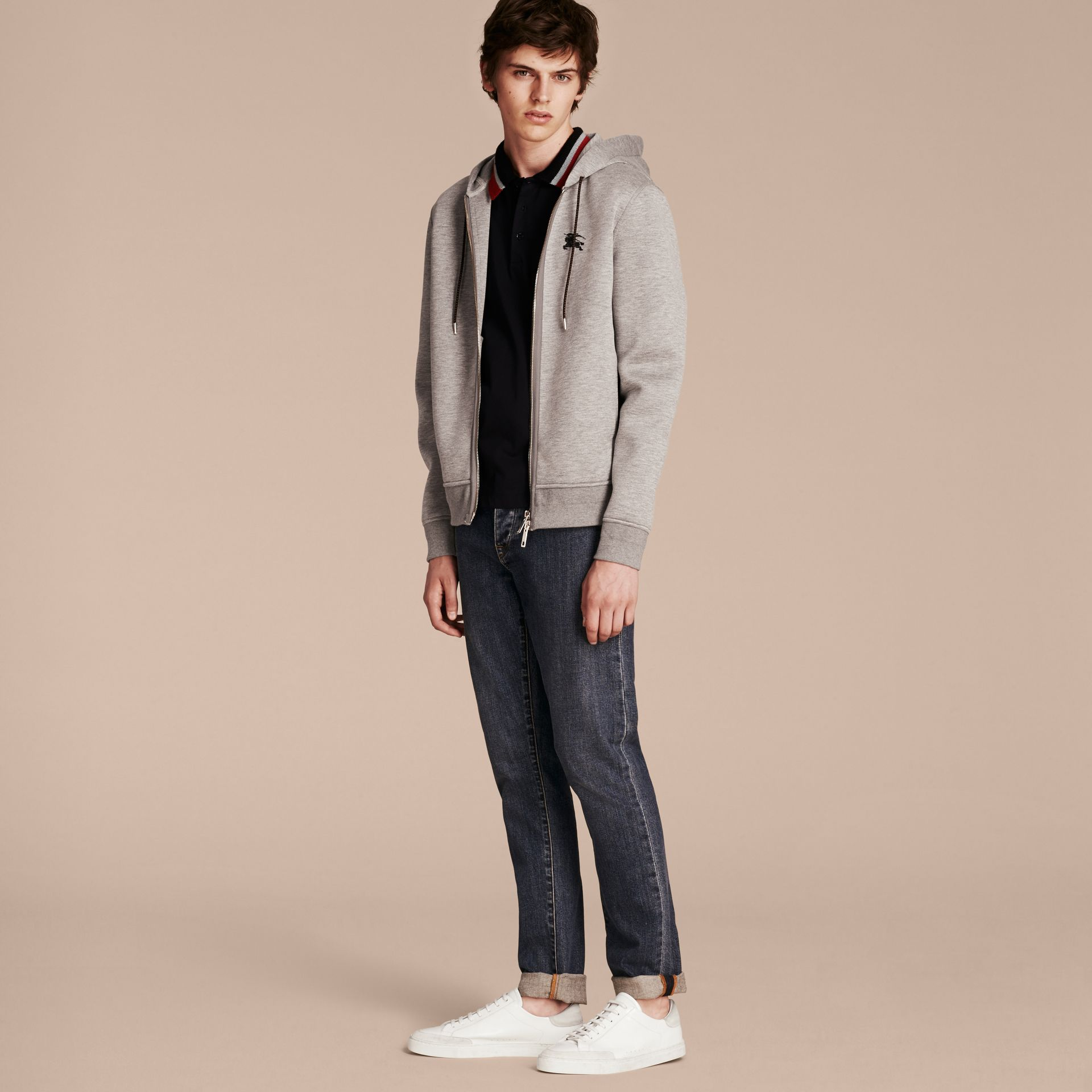 Two-tone Jersey Hooded Top Light Grey Melange - gallery image 6