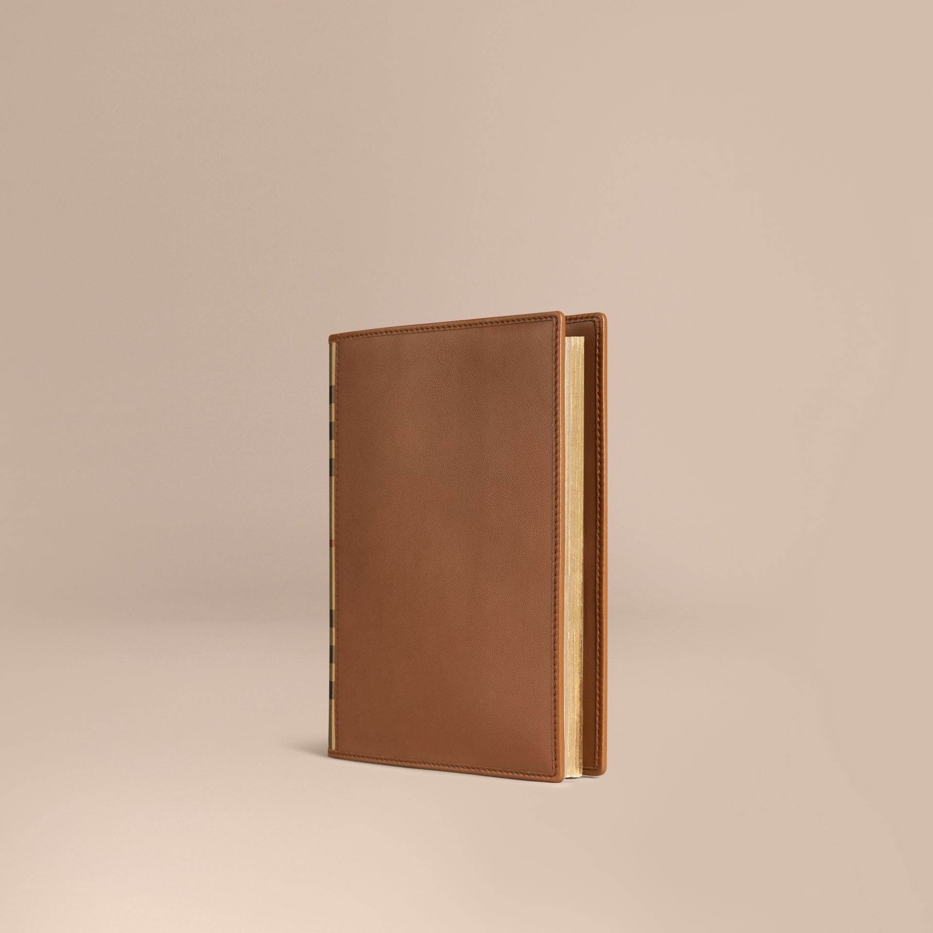 Tan Check Detail Grainy Leather A5 Notebook - gallery image 1