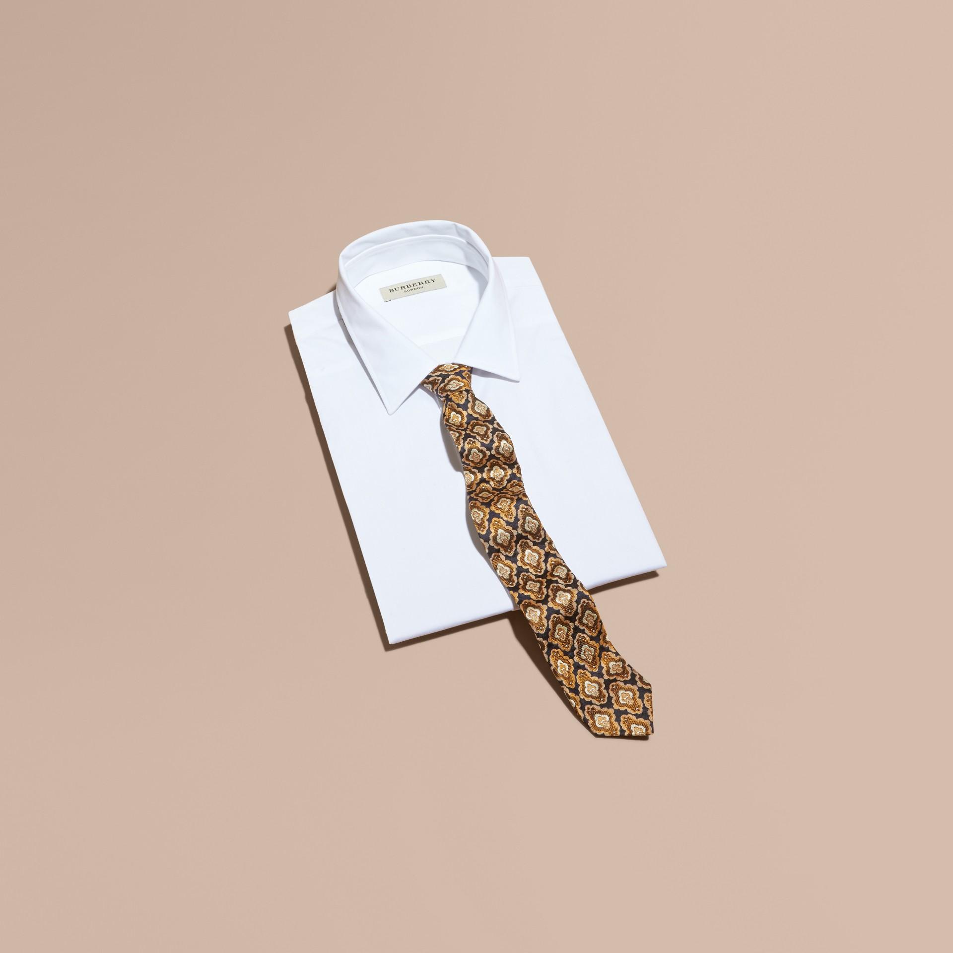 Navy Slim Cut Decorative Jacquard Silk Tie Navy - gallery image 3