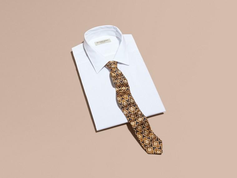 Navy Slim Cut Decorative Jacquard Silk Tie Navy - cell image 2