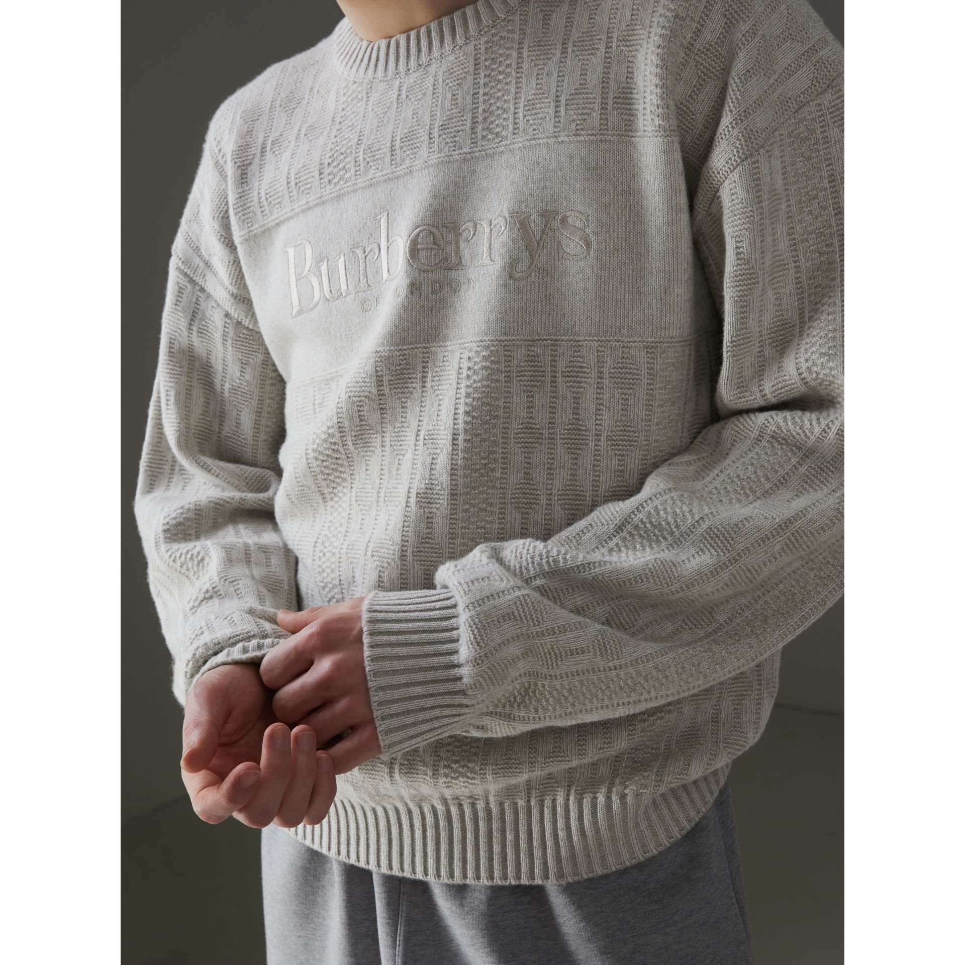 Reissued Lambswool Cotton Sweater in Light Grey Melange - Men | Burberry United Kingdom - gallery image 1