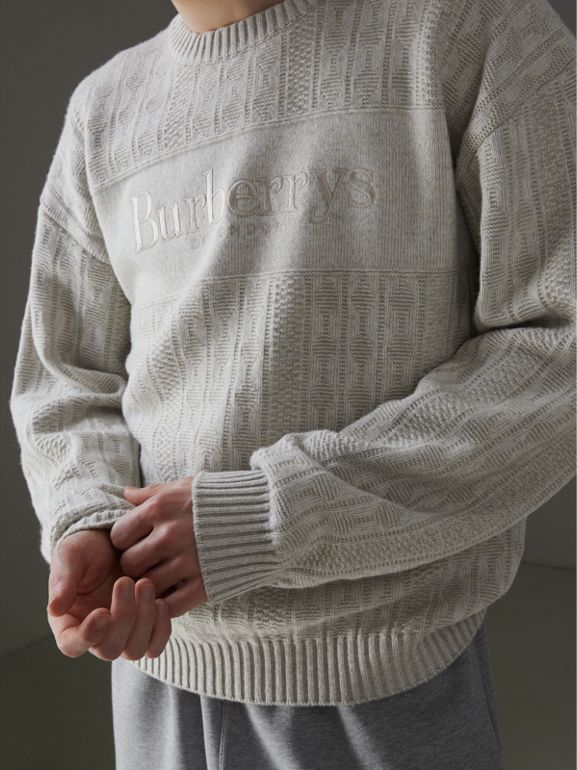 Reissued Lambswool Cotton Sweater in Light Grey Melange - Men | Burberry Canada - cell image 1