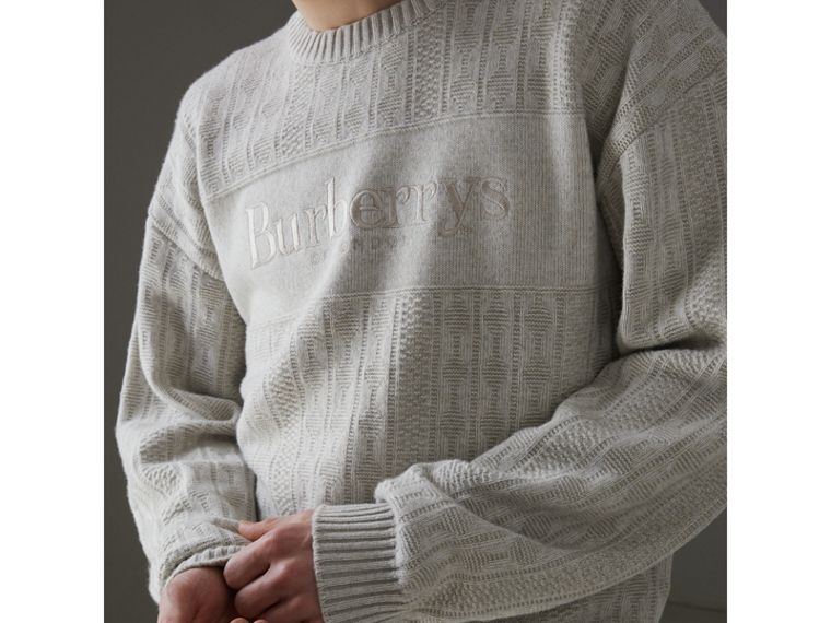 Reissued Lambswool Cotton Sweater in Light Grey Melange - Men | Burberry - cell image 1