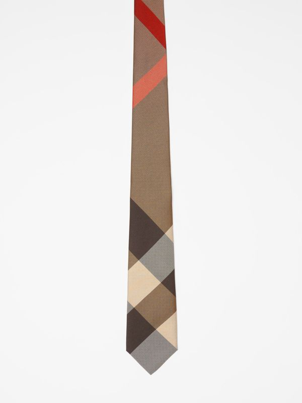 Modern Cut Oversized Check Silk Tie in Archive Beige - Men | Burberry - cell image 3