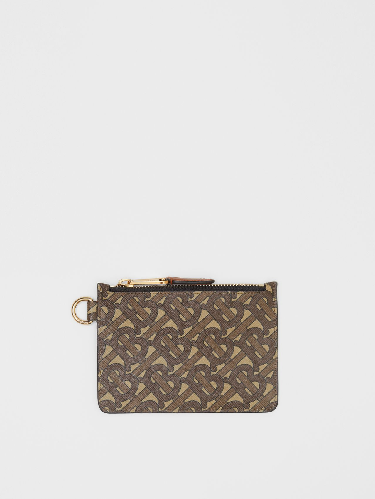 Monogram Print E-canvas Zip Coin Case in Bridle Brown