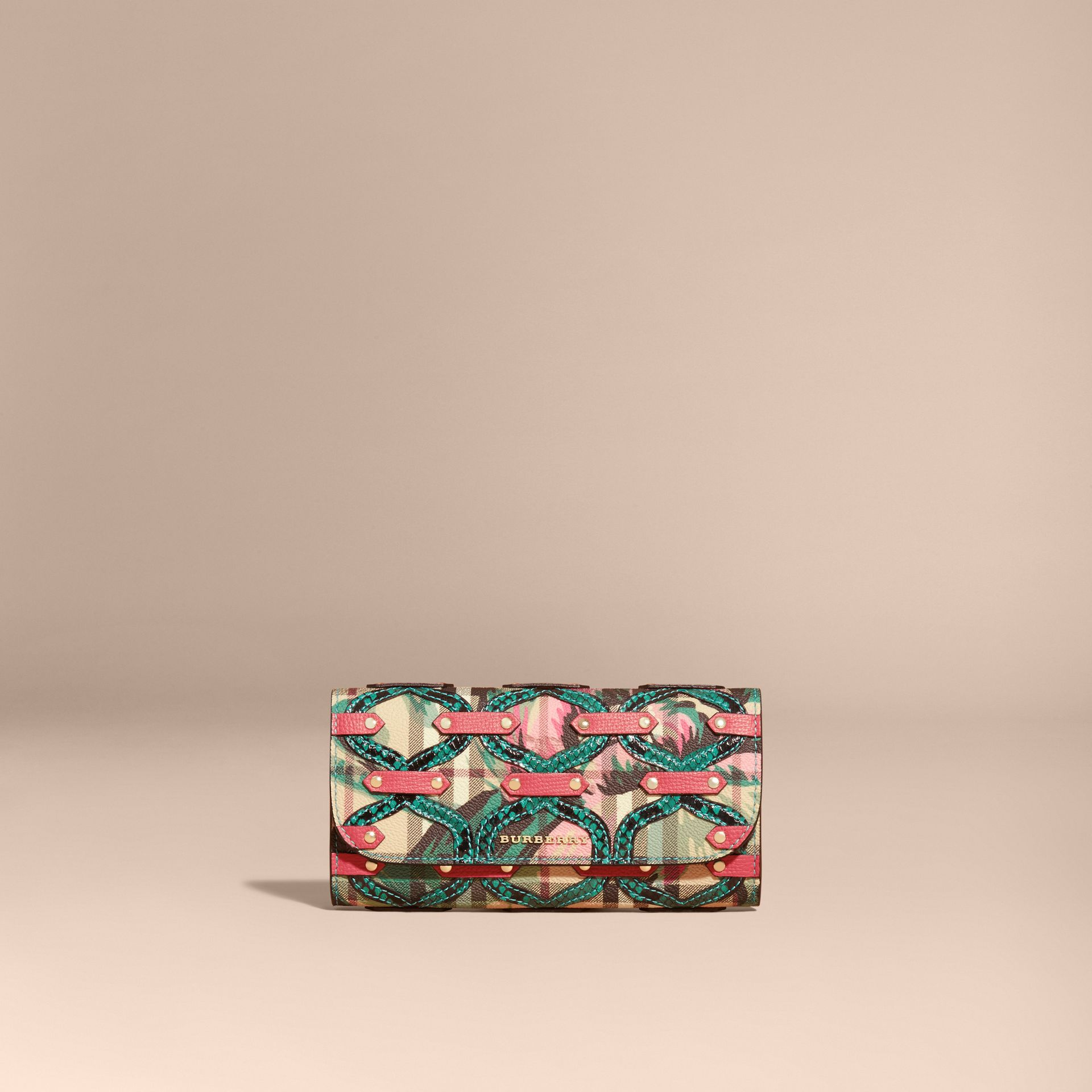 Snakeskin Appliqué Peony Rose Print Haymarket Check Continental Wallet in Plum Pink - gallery image 6