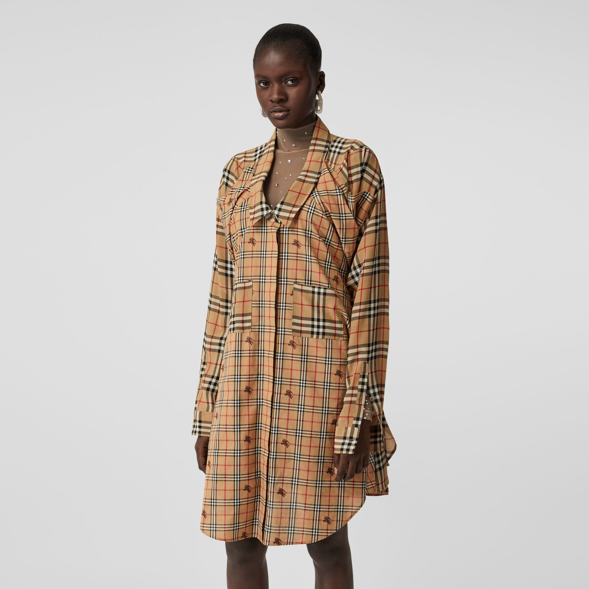 Vintage Check Silk and Cotton Shirt Dress in Archive Beige - Women | Burberry - gallery image 4