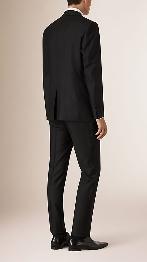 Black Modern Fit Wool Mohair Half-canvas Tuxedo - Image 2
