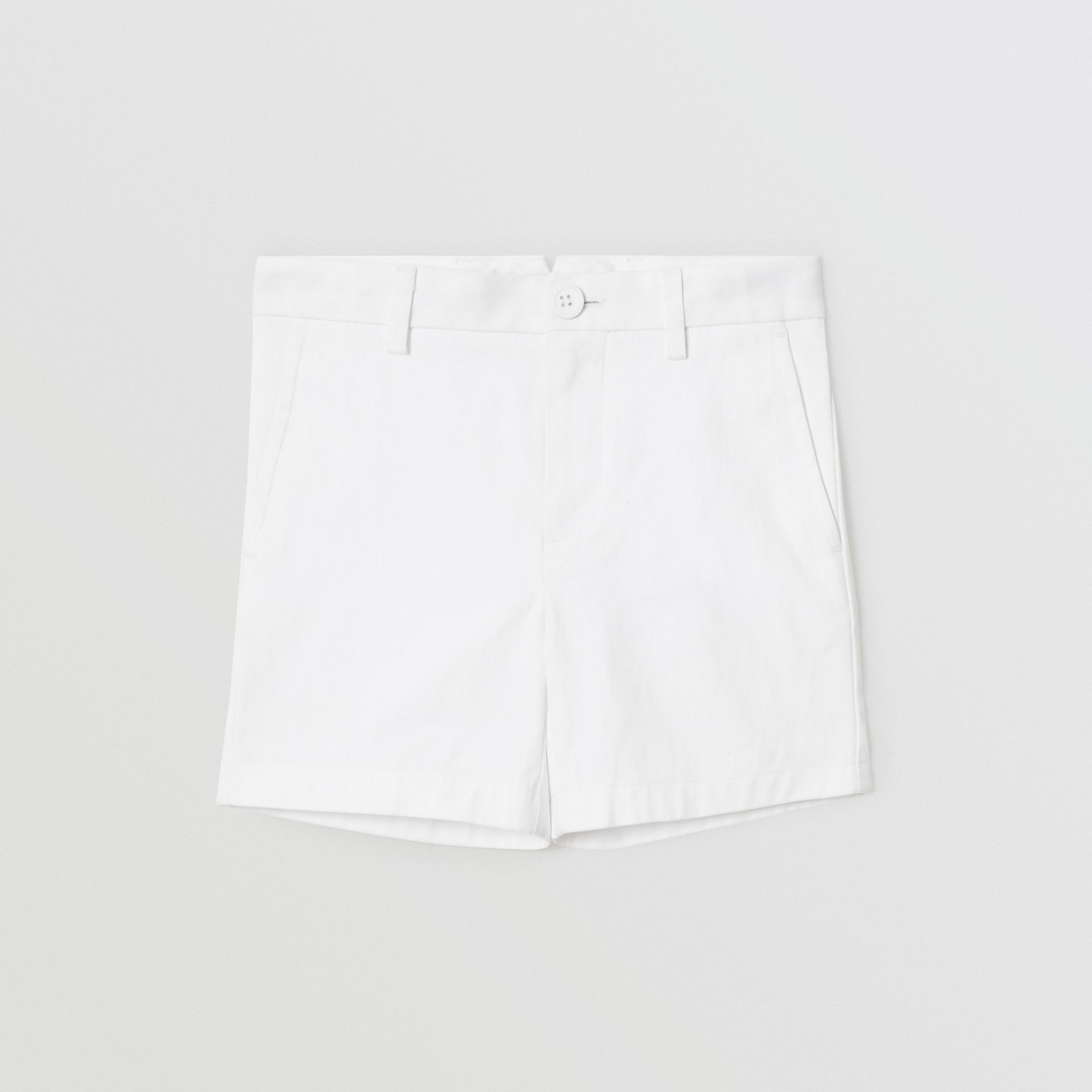 Cotton Chino Shorts in Optic White | Burberry - gallery image 0
