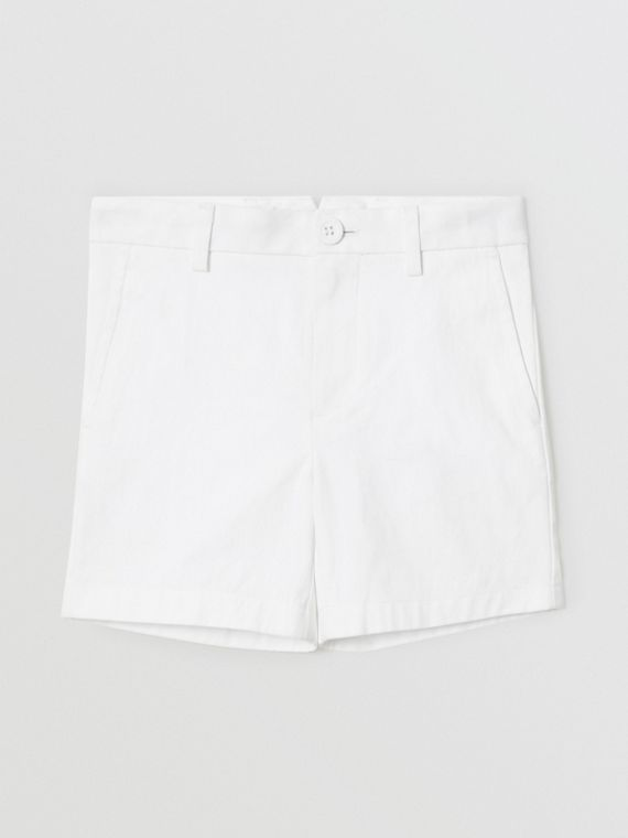 Cotton Chino Shorts in Optic White