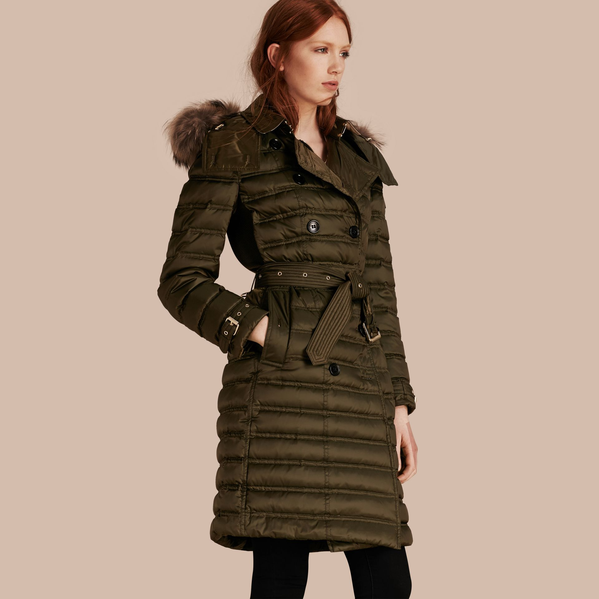 Dark olive Down-Filled Puffer Coat with Fur Trim Dark Olive - gallery image 1