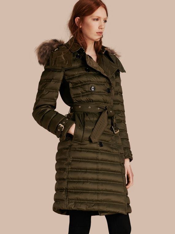 Down-Filled Puffer Coat with Fur Trim in Dark Olive