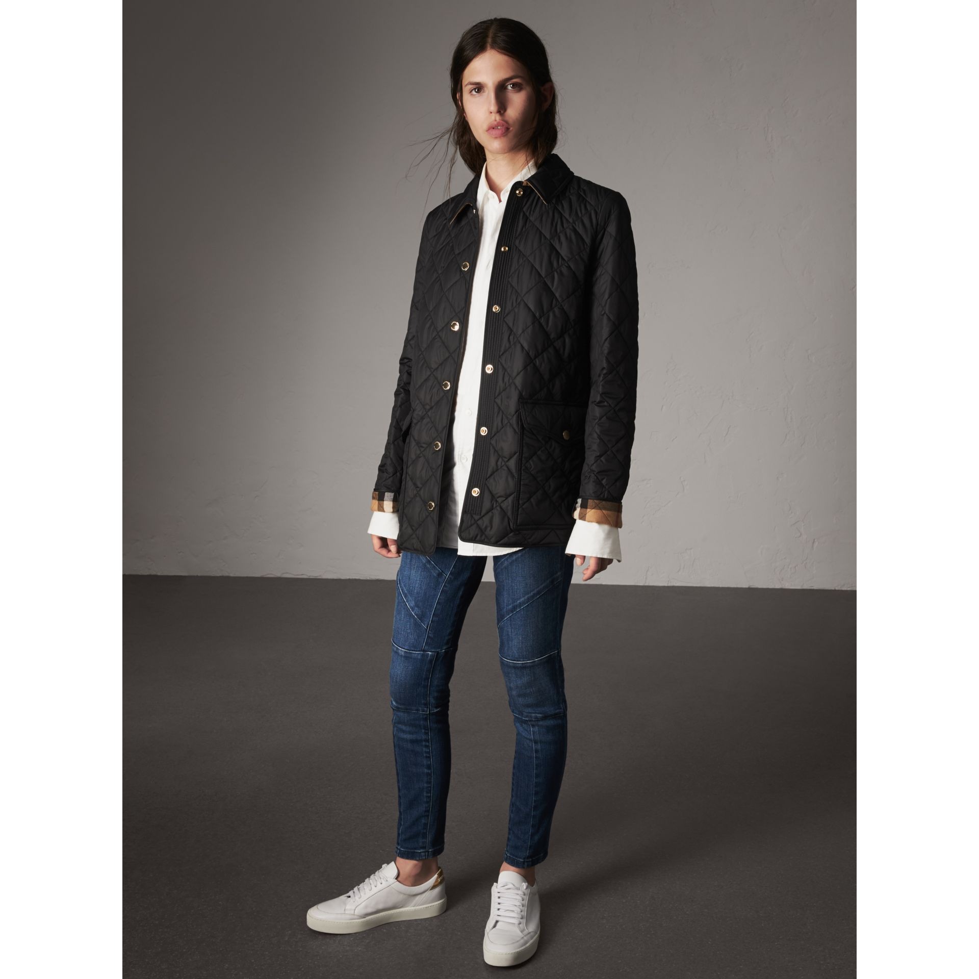 Check Detail Diamond Quilted Jacket in Black - Women | Burberry - gallery image 6