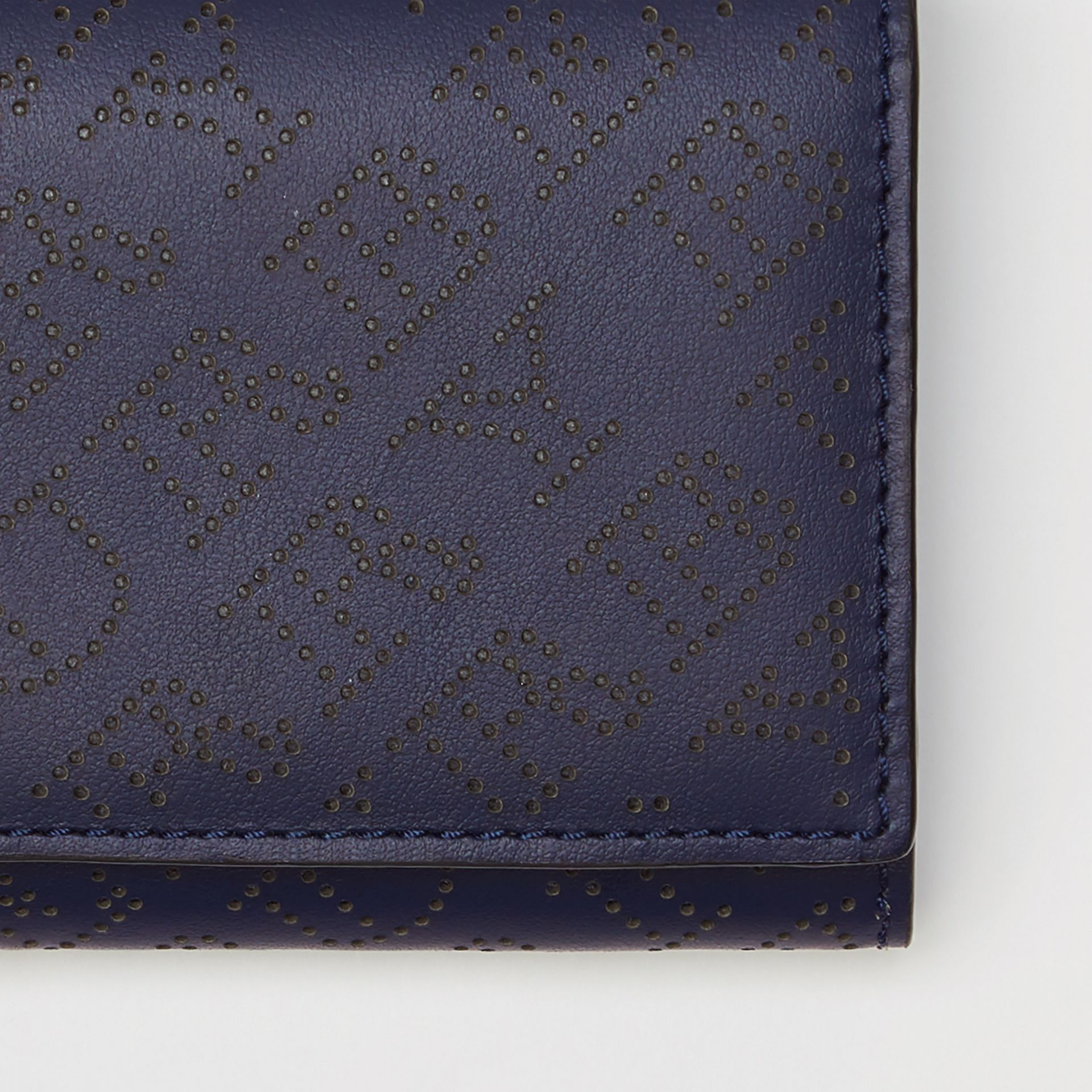 Small Perforated Logo Leather Wallet in Navy - Women | Burberry Canada - gallery image 1