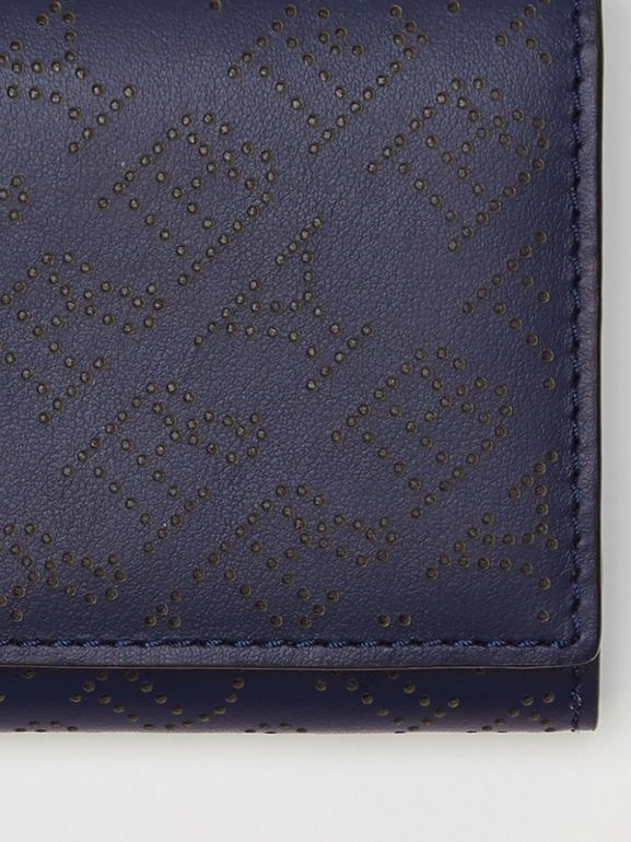 Small Perforated Logo Leather Wallet in Navy - Women | Burberry - cell image 1