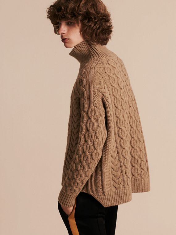 Camel Wool Cashmere Cable Knit Jumper - cell image 2