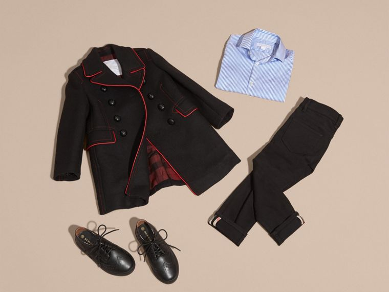 Black Technical Wool Cashmere Military Coat - cell image 4