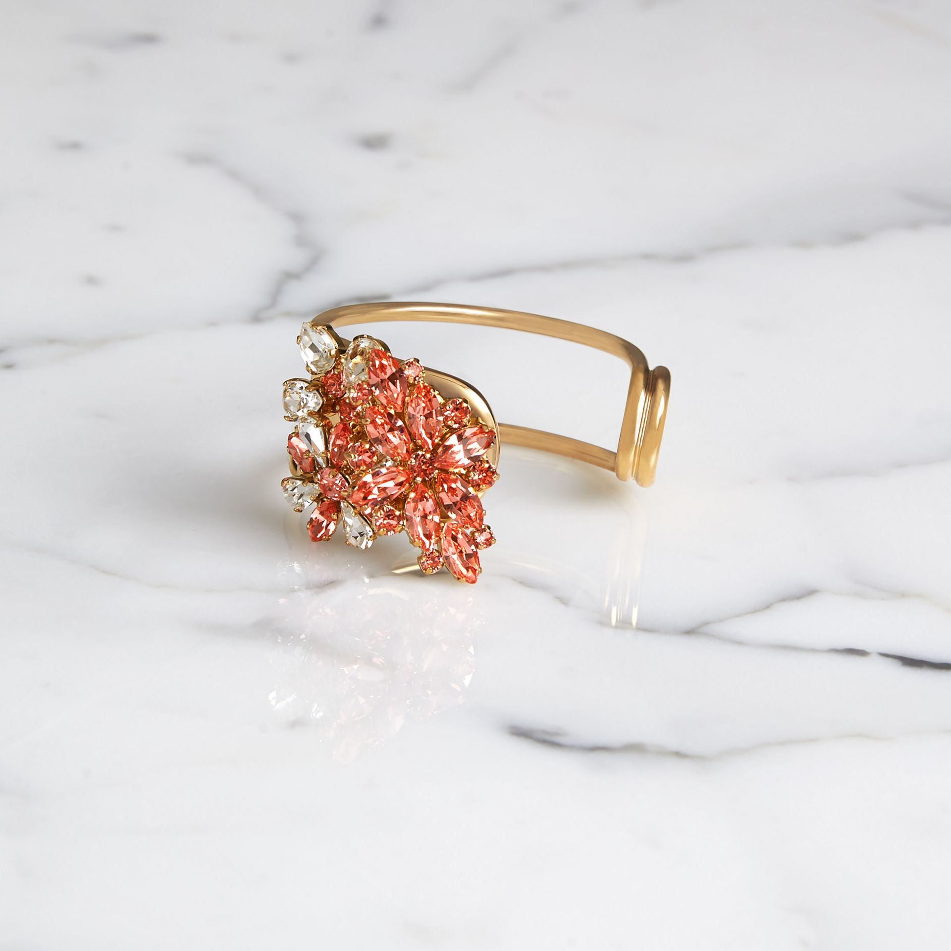 Crystal Daisy Brass Cuff in Coral Pink - Women | Burberry United Kingdom - gallery image 0