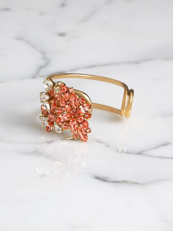 Crystal Daisy Brass Cuff in Coral Pink