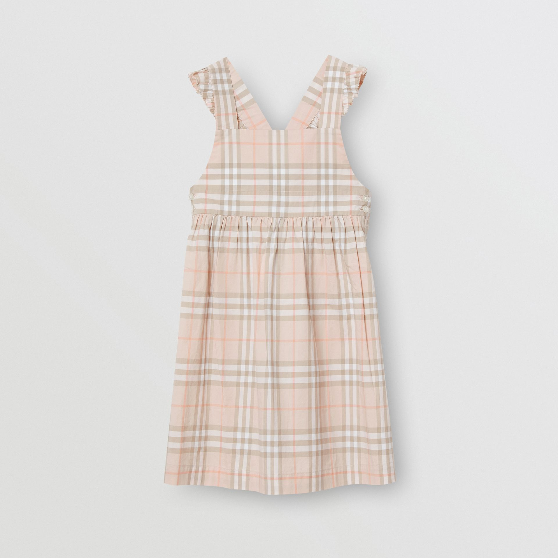 Ruffle Detail Check Cotton Dress in Pale Pink Apricot | Burberry Singapore - gallery image 0