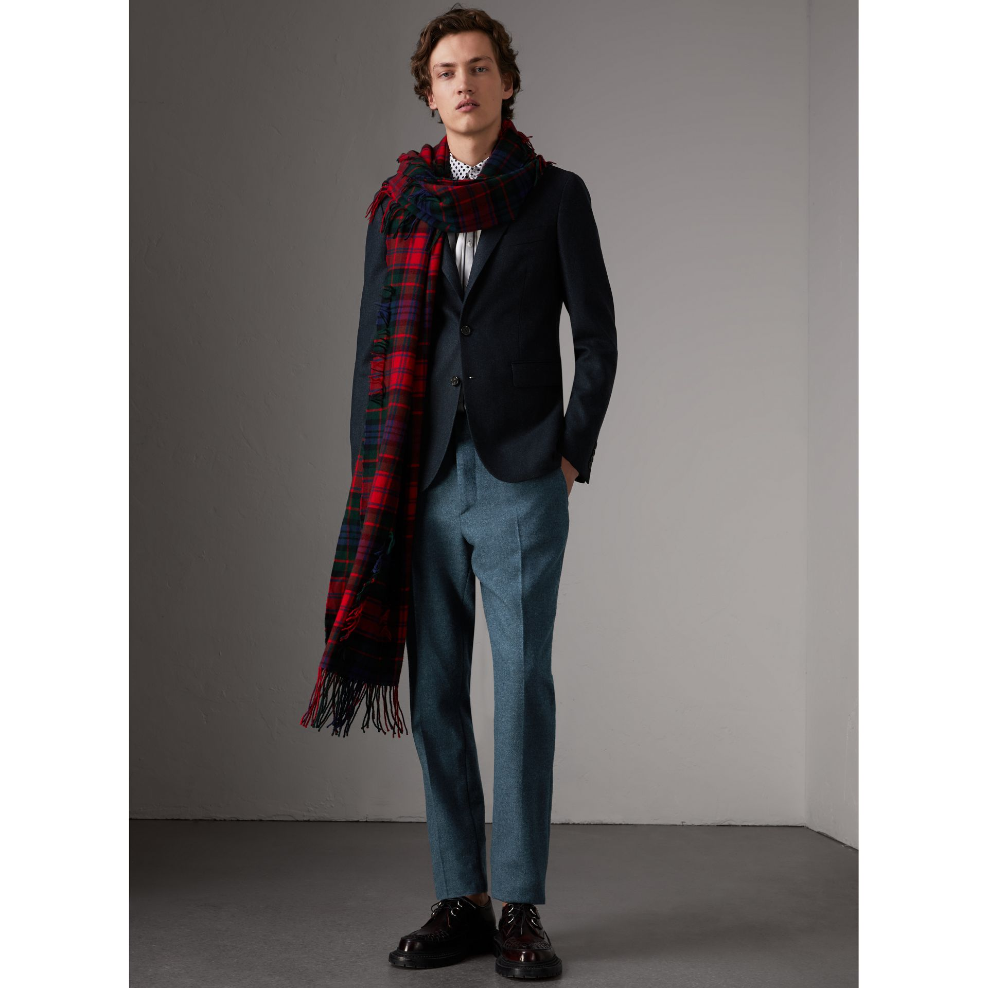 Soho Fit Herringbone Wool Tailored Jacket in Ink Blue/black - Men | Burberry - gallery image 1