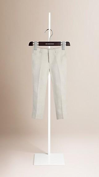 Pantalon de smoking ajusté en lin