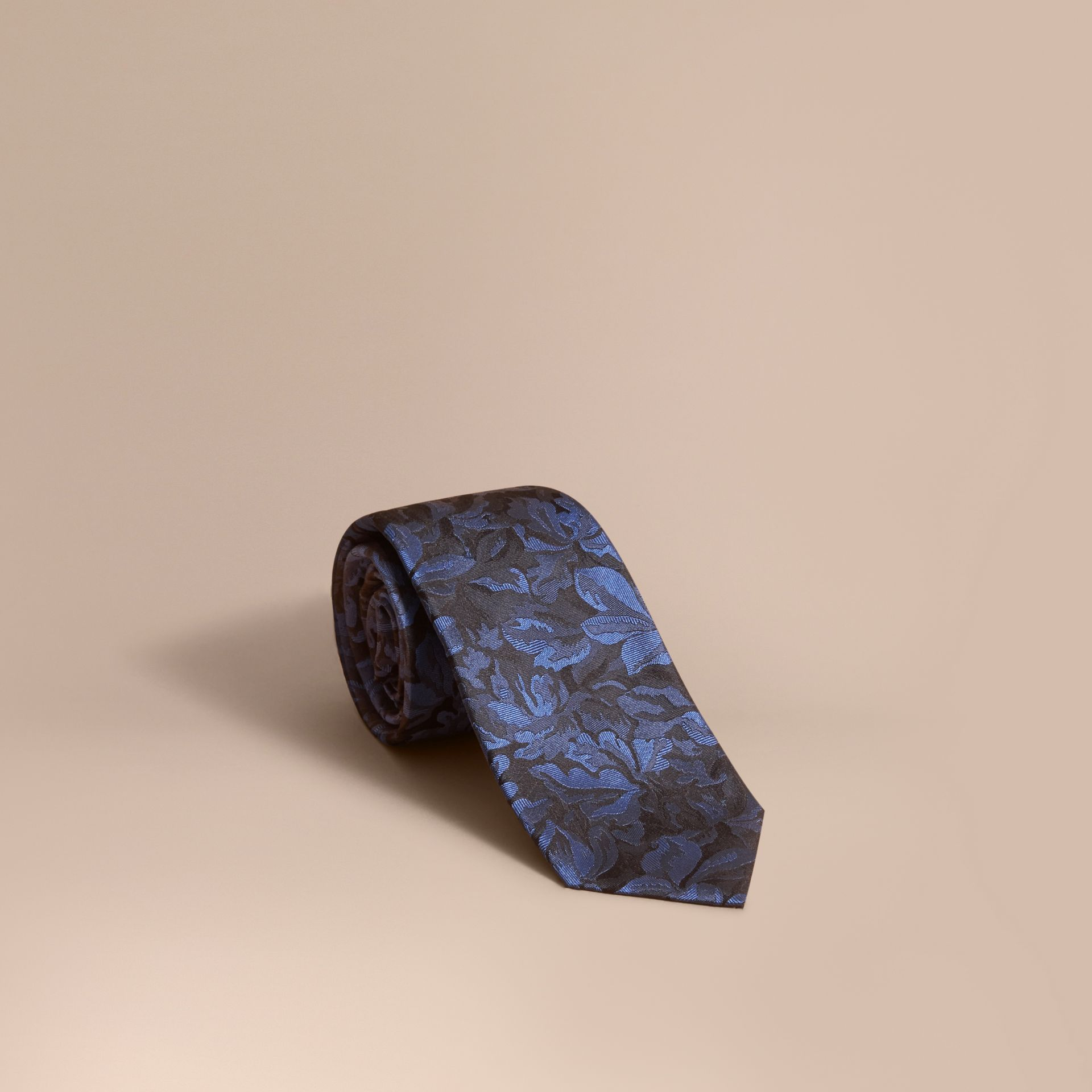 Modern Cut Floral Jacquard Silk Tie Navy - gallery image 1