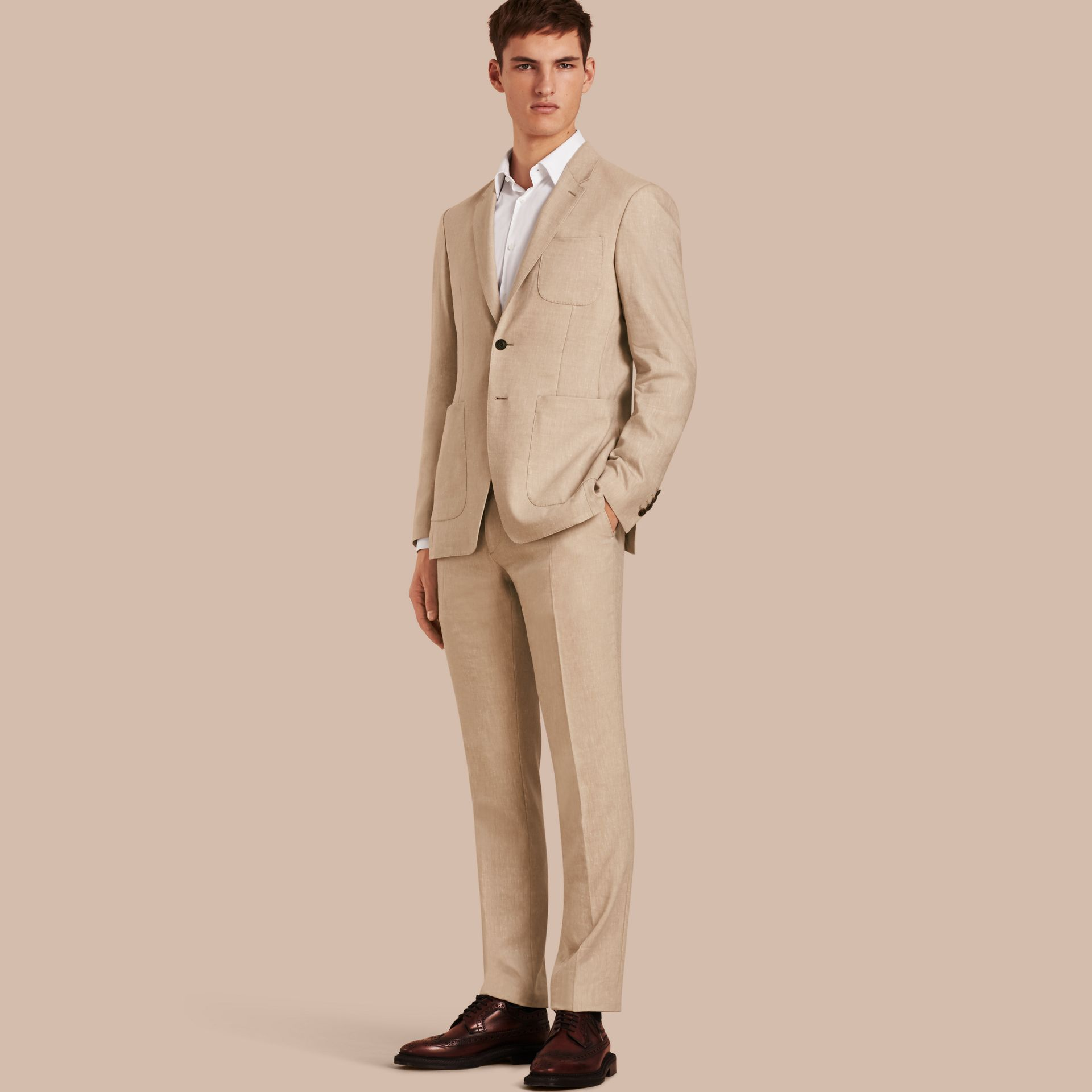 Modern Fit Travel Tailoring Linen Cashmere Wool Suit - Men | Burberry - gallery image 1