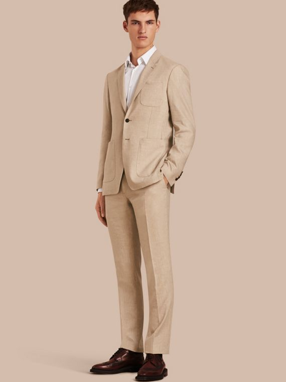 Modern Fit Travel Tailoring Linen Cashmere Wool Suit - Men | Burberry