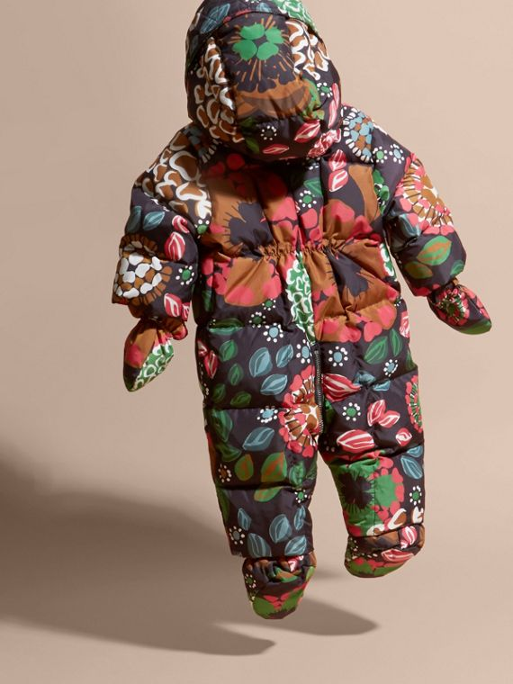 Sage green Floral Print Down-filled Puffer Suit - cell image 3