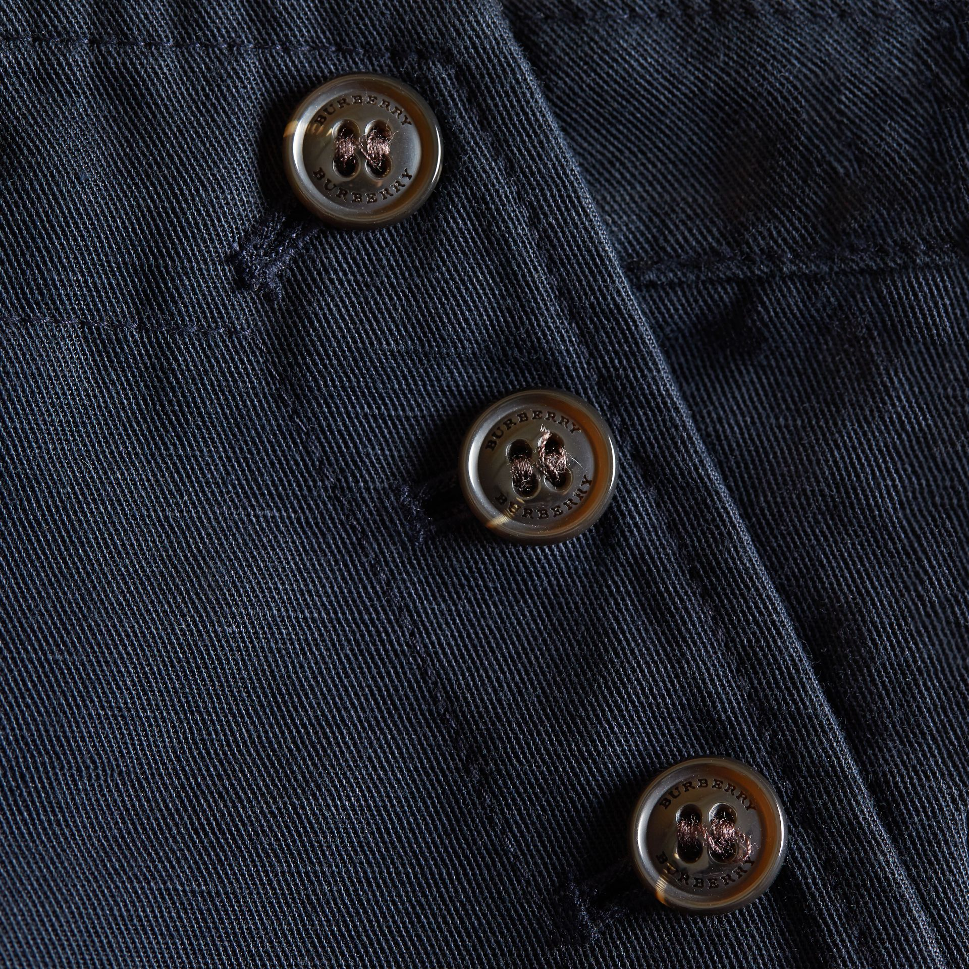Button Detail Cotton and Linen Shorts in Navy - gallery image 2