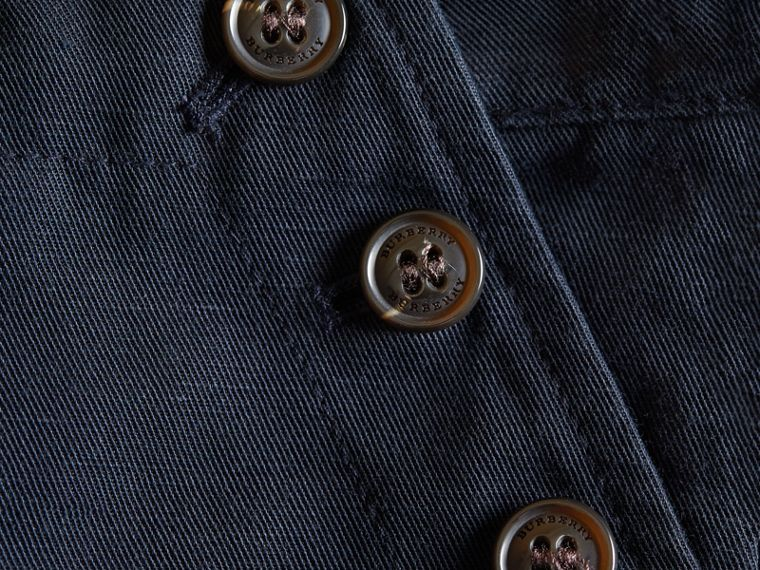 Button Detail Cotton and Linen Shorts in Navy - cell image 1