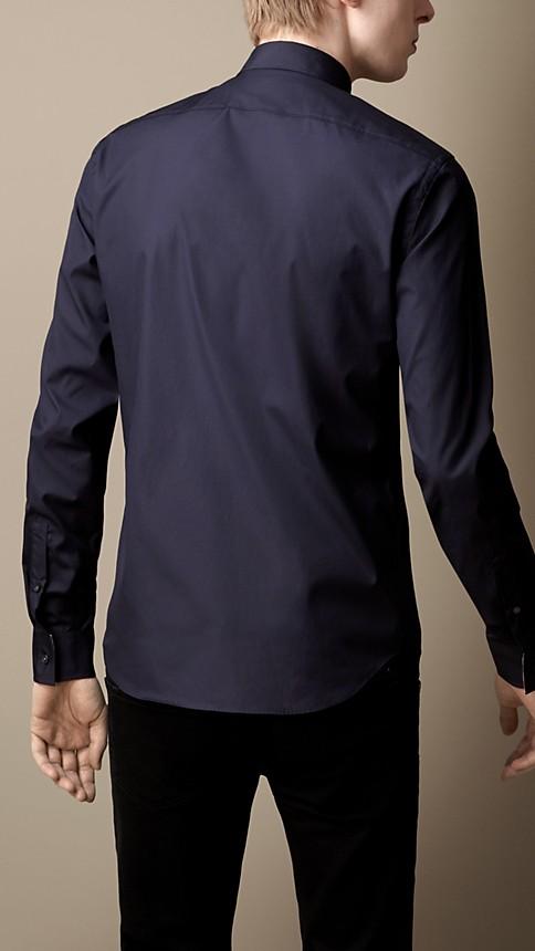 Navy Check Detail Stretch-Cotton Shirt - Image 2