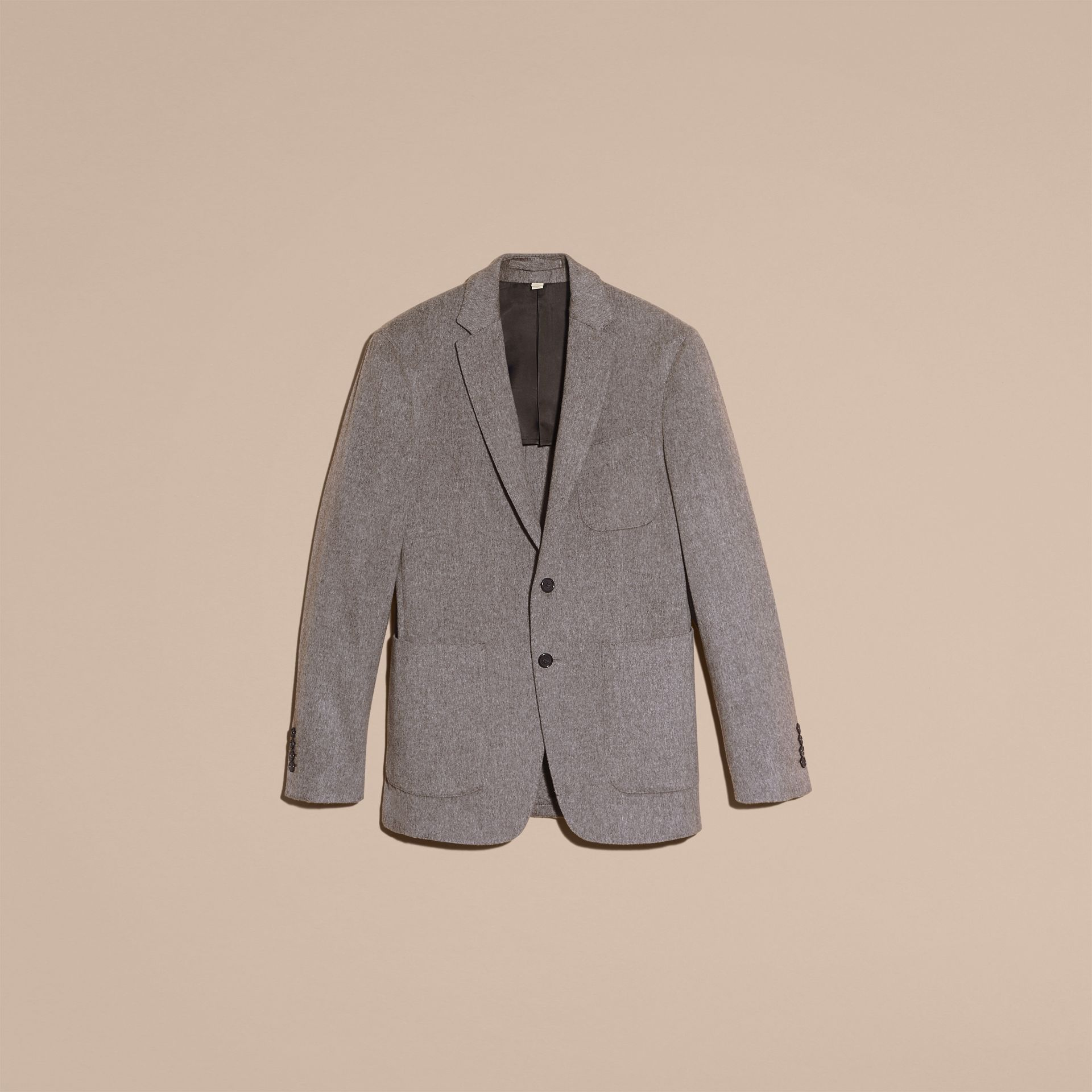 Modern Fit Lightweight Cashmere Tailored Jacket Mid Grey Melange - gallery image 4