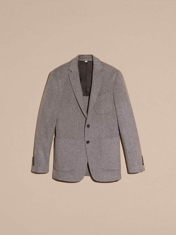 Modern Fit Lightweight Cashmere Tailored Jacket Mid Grey Melange - cell image 3