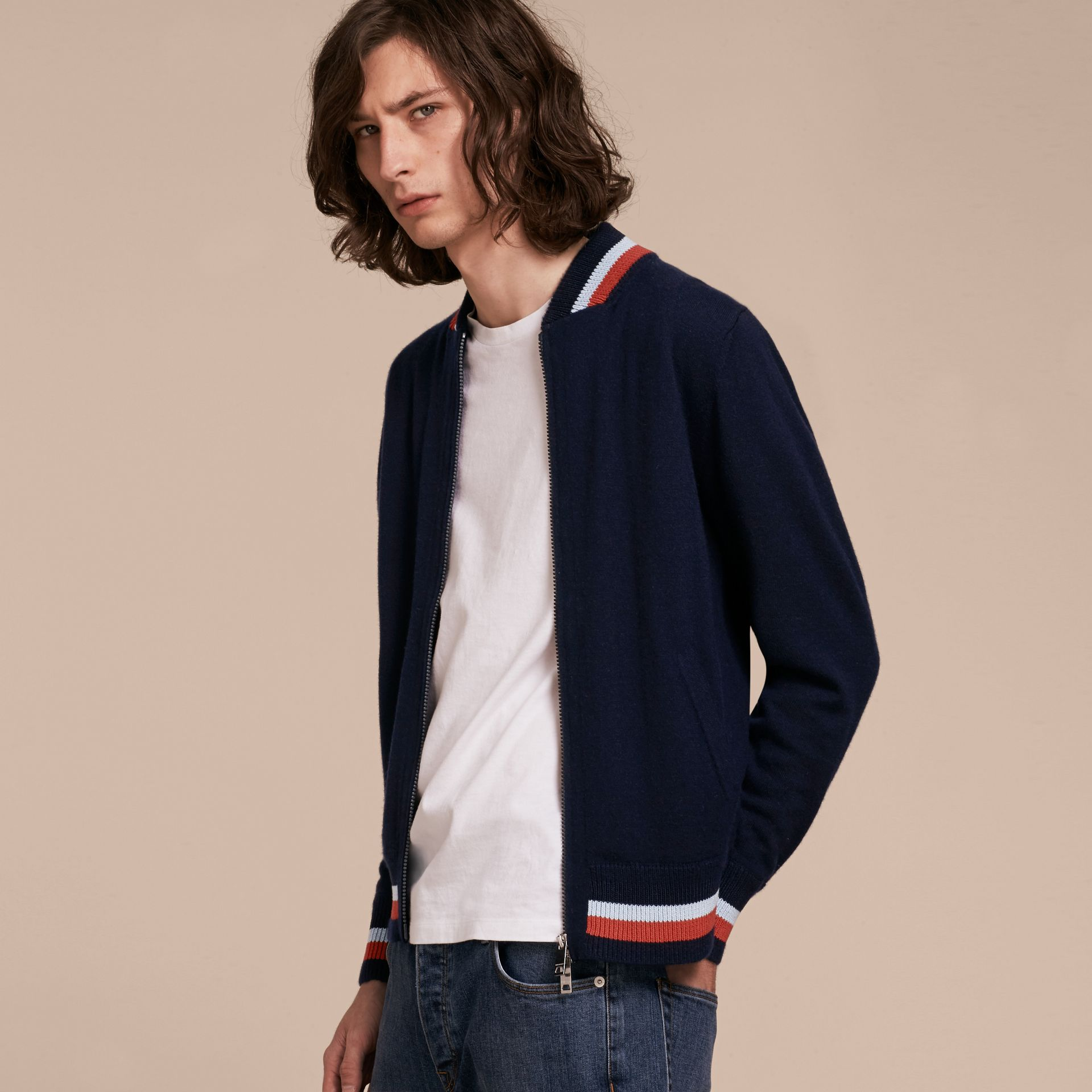 Navy Knitted Cashmere Bomber Jacket - gallery image 6