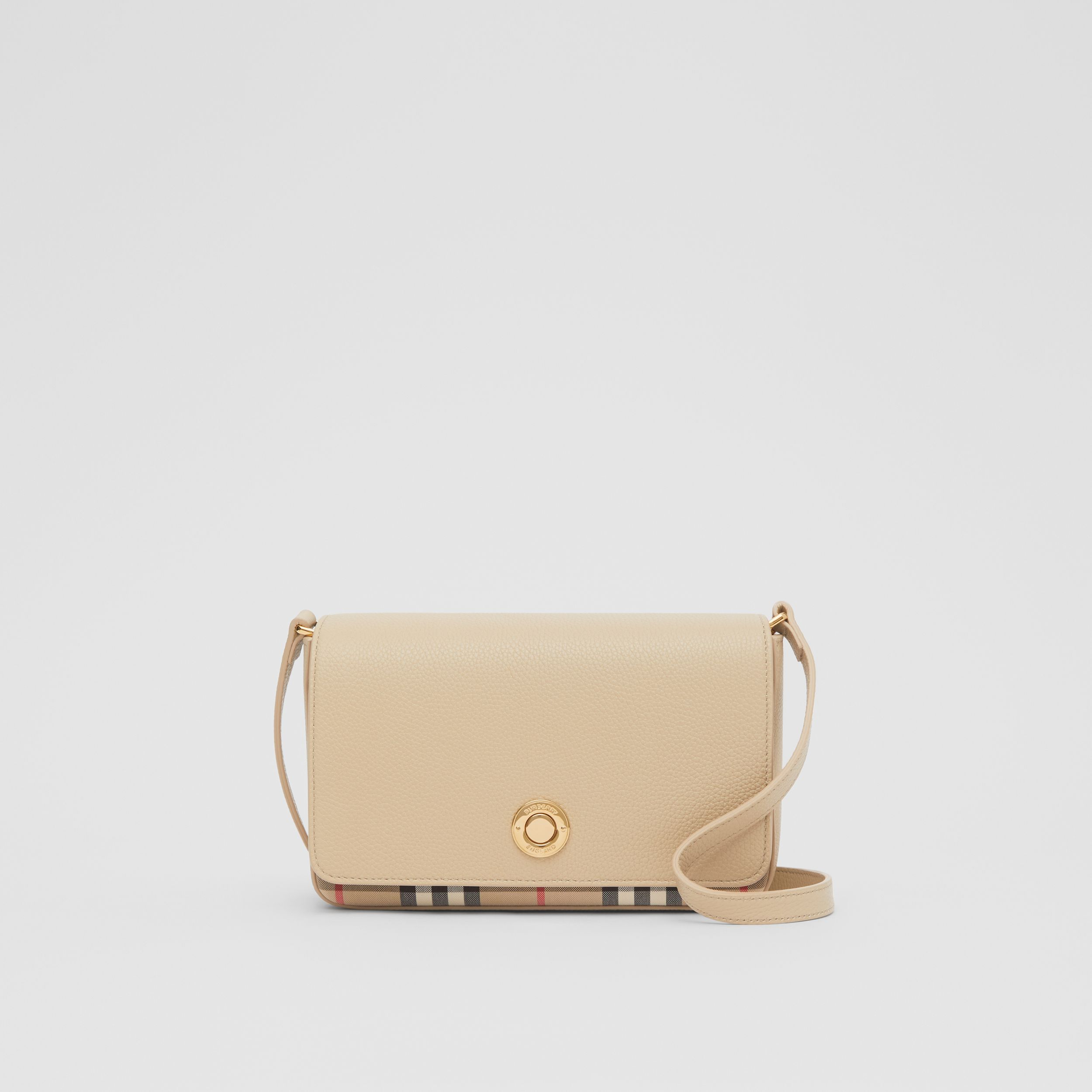 Small Leather and Vintage Check Crossbody Bag in Light Beige - Women | Burberry - 1