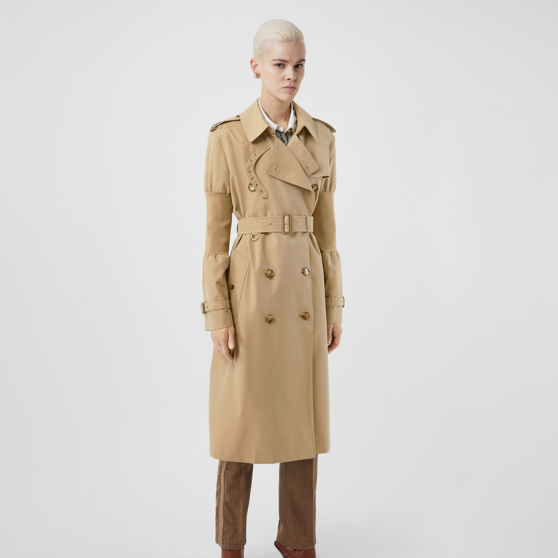 Panelled-sleeve Cotton Gabardine Oversized Trench Coat in Honey - Women | Burberry United Kingdom - gallery image 7