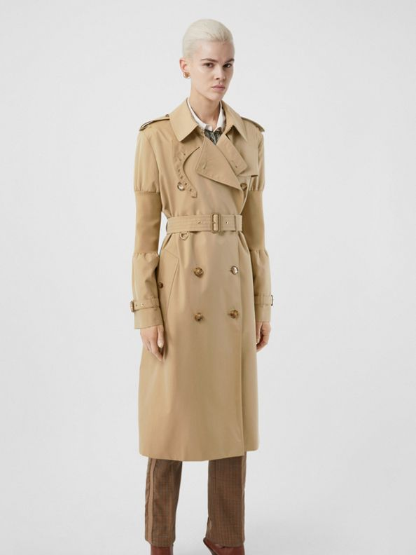 Panelled-sleeve Cotton Gabardine Oversized Trench Coat in Honey