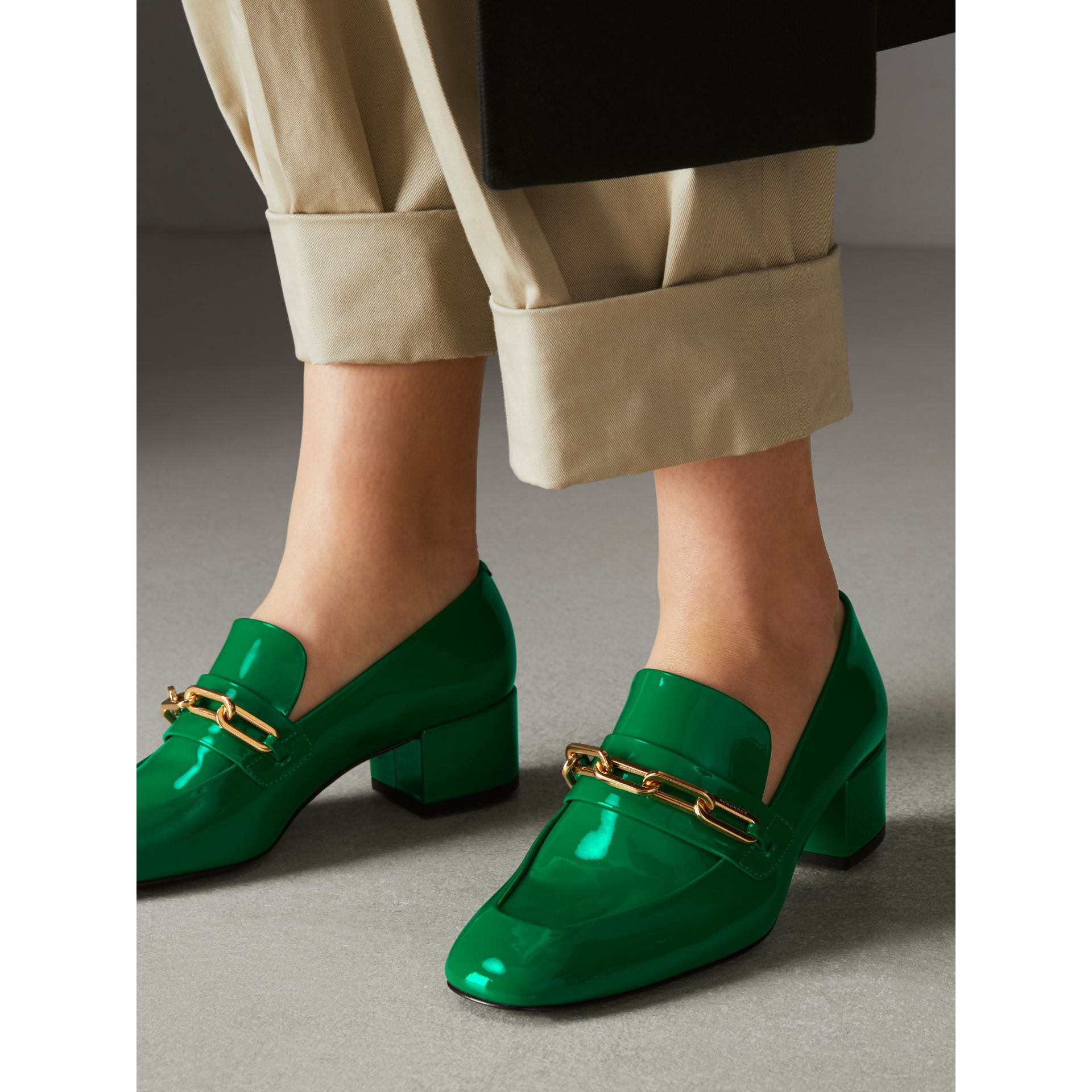 Link Detail Patent Leather Block-heel Loafers in Bright Pigment Green - Women | Burberry - gallery image 2