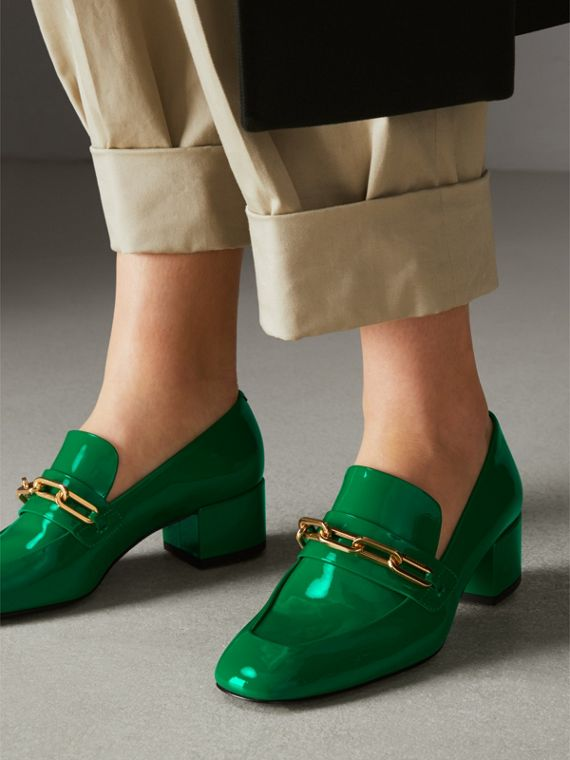 Link Detail Patent Leather Block-heel Loafers in Bright Pigment Green - Women | Burberry - cell image 2