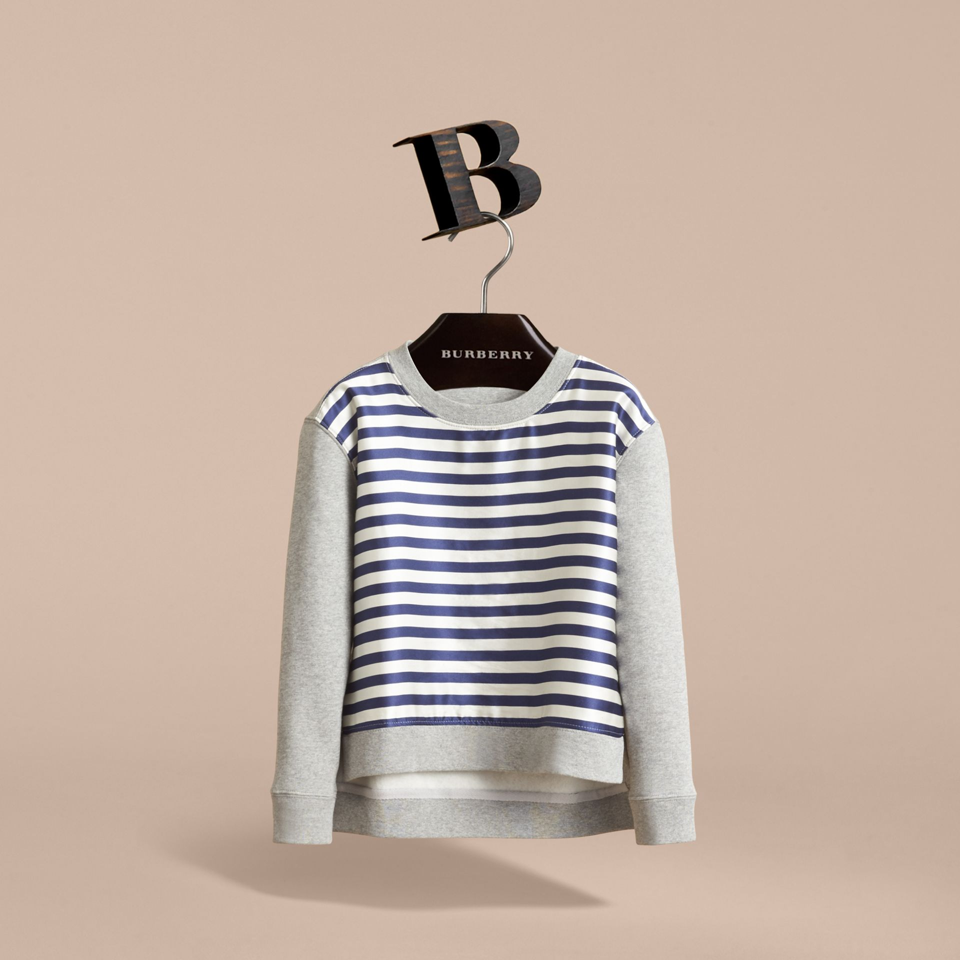 Striped Cotton Silk Panel Sweatshirt in Grey Melange - Boy | Burberry - gallery image 3