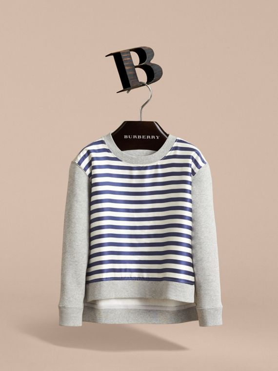 Striped Cotton Silk Panel Sweatshirt in Grey Melange - Boy | Burberry - cell image 2