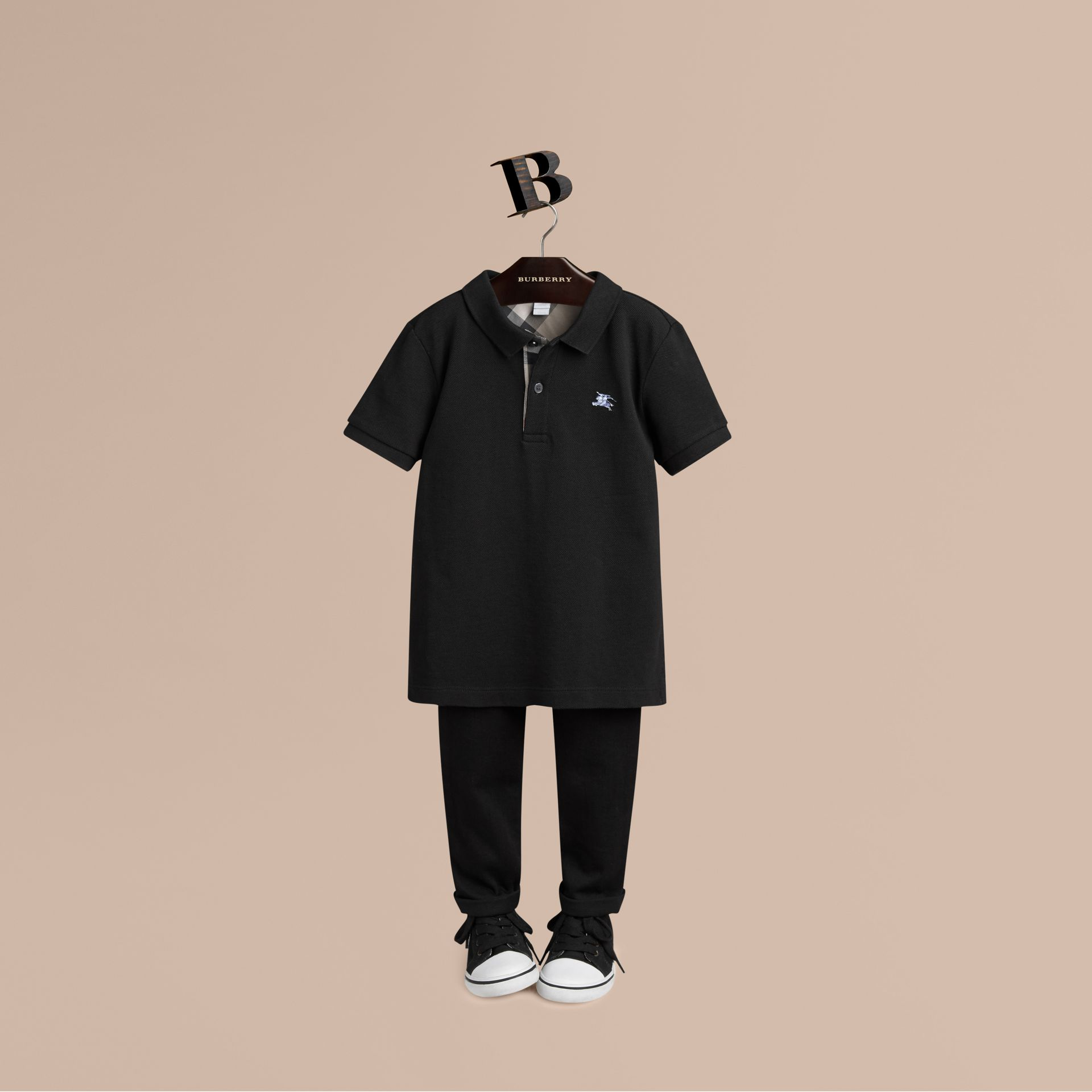 Check Placket Polo Shirt in Black - gallery image 1