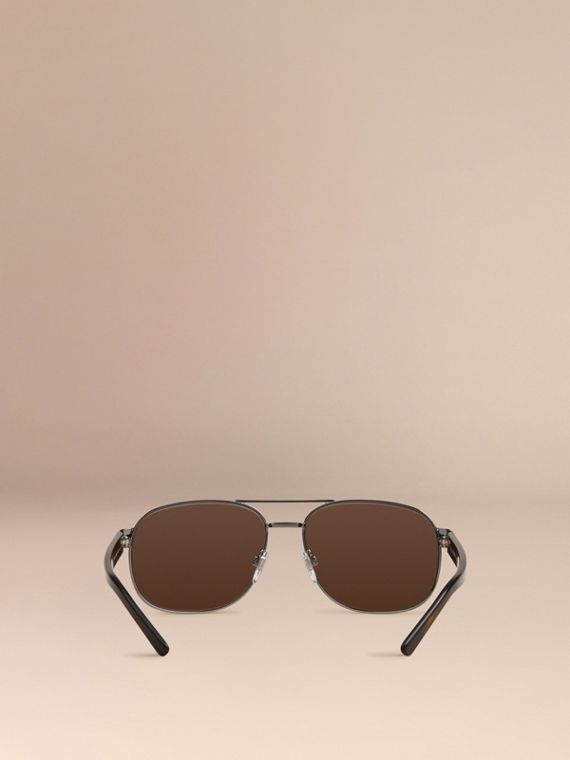 Brown Square Frame Aviator Sunglasses Brown - cell image 2