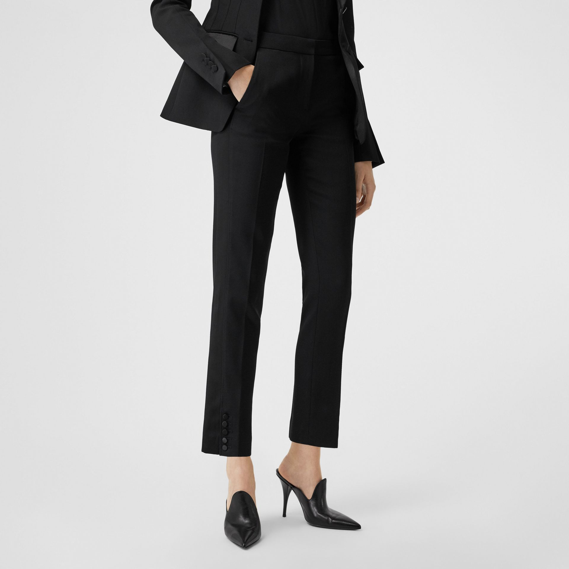 Satin Stripe Wool Tailored Trousers in Black - Women | Burberry United Kingdom - gallery image 5
